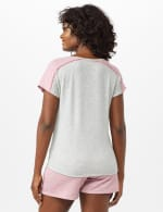 Color Block Tie Front Knit Tee - Misses - Heather Grey - Back