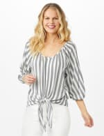 Stripe Button Front Peasant Top - Black/Ivory - Front