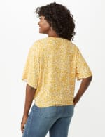 Elbow Tie Front Bell Sleeve Blouse - Gold/White - Back