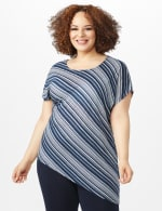 Asymmetrical Striped Knit Tunic - Blue - Front