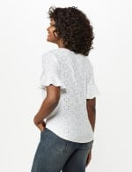 Eyelet Flounce Sleeve Tie Front - White - Back