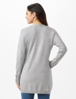 Grommet Lace-Up Trim Open Cardigan - Light Heather Grey - Back