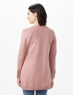 Grommet Lace-Up Trim Open Cardigan - Rose Heather - Back