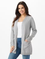 Grommet Lace-Up Trim Open Cardigan - Light Heather Grey - Front