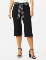 Pull On Crop Pants With Printed Tie Sash - Black - Front