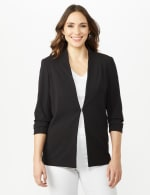 Open Front Collarless Cardigan With Ruched Sleeve - Misses - Black - Front