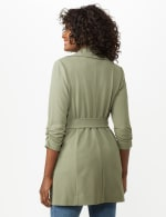 Knotched Collar Wrap Jacket With Tie Belt - Rugged Drab - Back