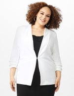 Open Front Collarless Cardigan With Ruched Sleeve - Sugar Swizzle - Front