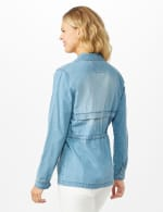Denim Utility Jacket With Flap Pockets and Hidden Waist Drawcord - Ocean Wash - Back