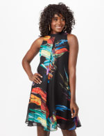 Sleeveless Chiffon Brush Stroke Mock Neck Dress - Black Multi - Front
