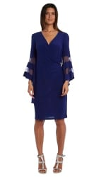 Illusion Bell Sleeve Dress with Rush Detail at Waist - Misses - Electric Blue - Front