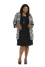 Scroll Mesh  Jacket with Sheath Dress - Black/White - Front
