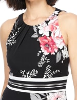 Floral Jersey Sharkbite Dress - Black/Pink - Detail