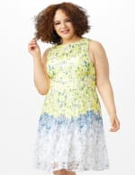 Sleeveless Round Neck Ombre Floral Print Lace Dress - Yellow/Blue - Front