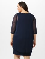 Mesh Cascade Jacket Embroidered Sheath Dress - Navy - Back