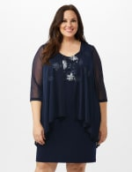 Mesh Cascade Jacket Embroidered Sheath Dress - Navy - Front