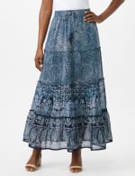 Tiered Maxi Skirt with Waist Tie and Tassel - Navy - Front