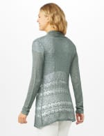 Textured Cardigan with Crochet Detail - Silver Moss - Back
