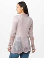 Scallop Trim Textured Cardigan - Pale Lilac - Back