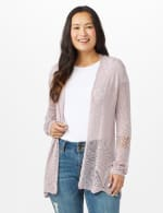 Scallop Trim Textured Cardigan - Pale Lilac - Front