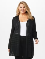Textured Duster - Black - Front