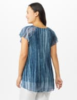 Mesh Tie Dye Flyaway Top - Blue - Back