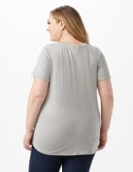 LIPS Tie Front Knit Top - Plus - Heather Grey - Back