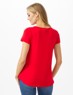 Love Hi-Lo Knit Screen Tee - Red - Back