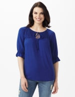 Ruffle Trim Peasant Knit Top - Blue - Front