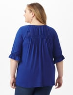 Ruffle Trim Peasant Knit Top - Blue - Back
