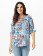 Patchwork Peasant Knit Top - Blue - Front