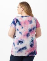 Tye Dye Ruched Tie Front Top - Pink - Back