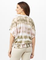 Tie Dye Faux Wrap Top - Olive - Back