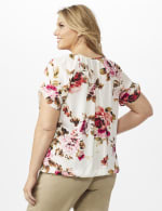 Floral Pleat Neck Bubble Hem - Beige - Back