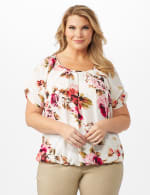Floral Pleat Neck Bubble Hem - Beige - Front