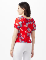 Blue Floral Pleat Neck Bubble Hem - Red - Back