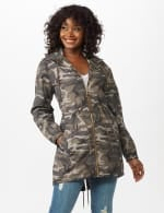 Dry Nylon Camo Zip Front Hooded Utility Jacket with Draw Cord - Olive - Front