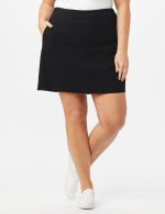Pull On Solid Skort with Pockets - Black - Front