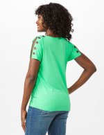 Grommet Trim Split Sleeve - Jade - Back