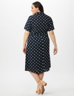 Short Sleeve Dot Shirt Dress with Self Belt - Navy/Ivory - Back