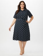 Short Sleeve Dot Shirt Dress with Self Belt - Navy/Ivory - Front