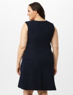 Sleeveless Textured Knit Key Hole Neck with Ring Dress - Navy - Back