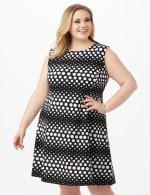Dotted Stripe Fit and Flare Scuba Dress - Black/White - Front