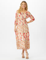 Mixed Ditsy Print Tiered Maxi Peasant Dress - Ivory/Orange - Front