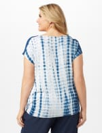 Side Tie Crochet Trim Tie Dye Top - Bijou Blue - Back
