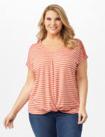 Twist Front Yarn Dye Knit Top - Canyon Clay - Front