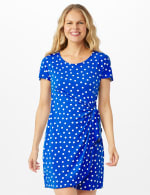 Petite Dot Faux Wrap  Side Tie Dress - Royal - Front