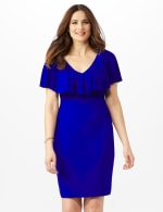 Cascade Ruffle Neck Shirred Waist Dress - Deep Cobalt - Front
