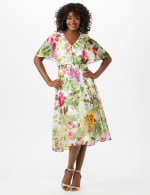 V-neck Chiffon Jacquard Botanical Floral Dress - Ivory/Rose - Front