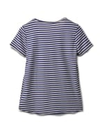 Screen Print Stripe Rib Tee - Misses - Navy - Back